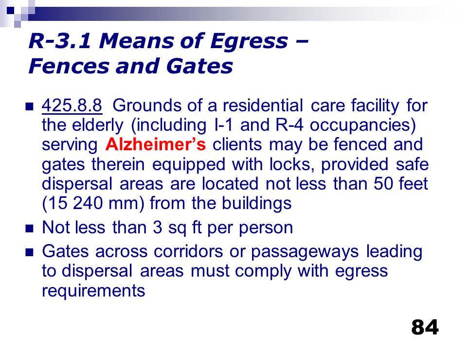 R-3.1 Means of Egress – Fences and Gates