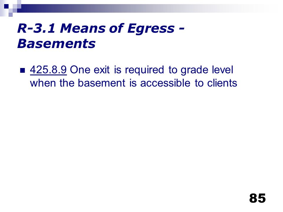 R-3.1 Means of Egress - Basements