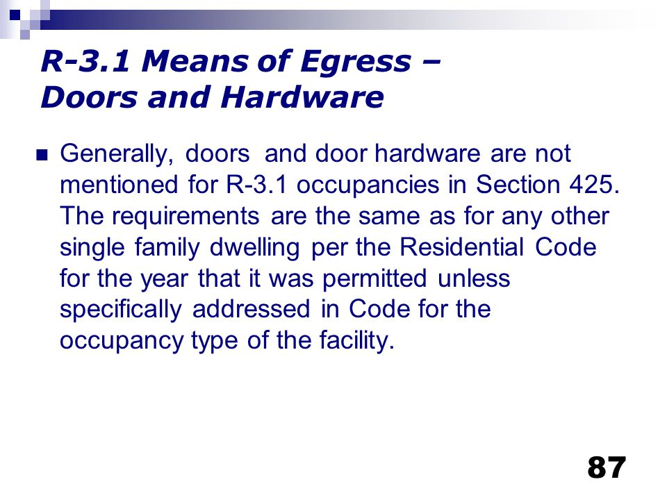 R-3.1 Means of Egress – Doors and Hardware