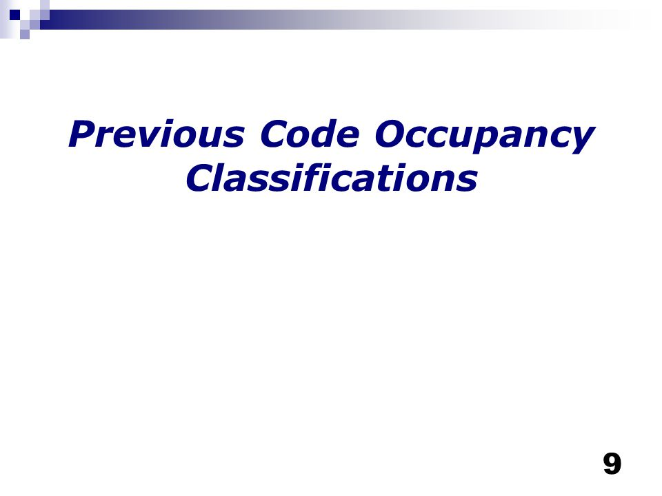 Previous Code Occupancy Classifications