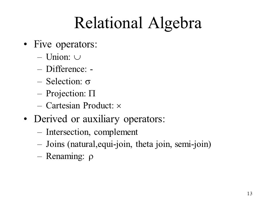 Relational Algebra Five operators: Derived or auxiliary operators: