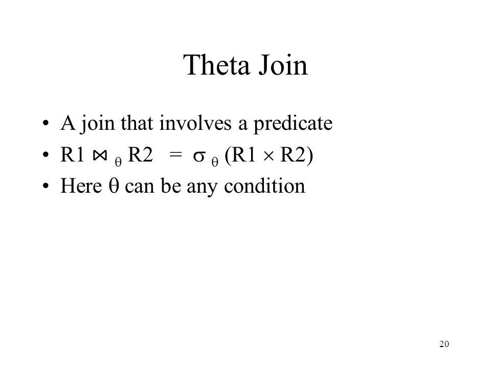 Theta Join A join that involves a predicate R1 ⋈ q R2 = s q (R1  R2)