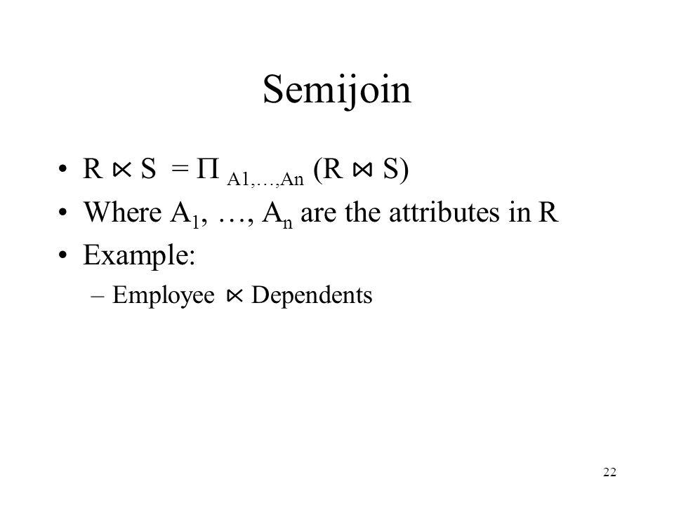 Semijoin R ⋉ S = P A1,…,An (R ⋈ S)