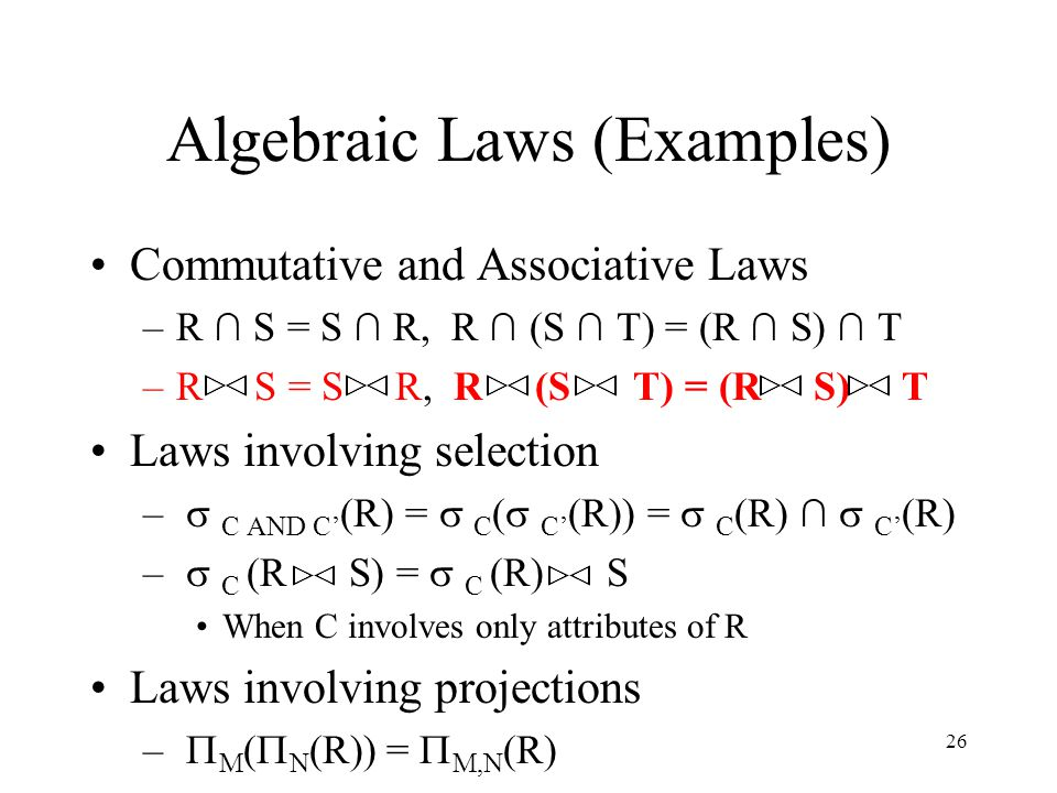 Algebraic Laws (Examples)