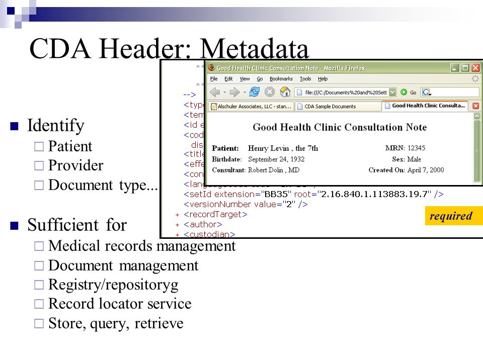CDA Header: Metadata Identify Sufficient for Patient Provider