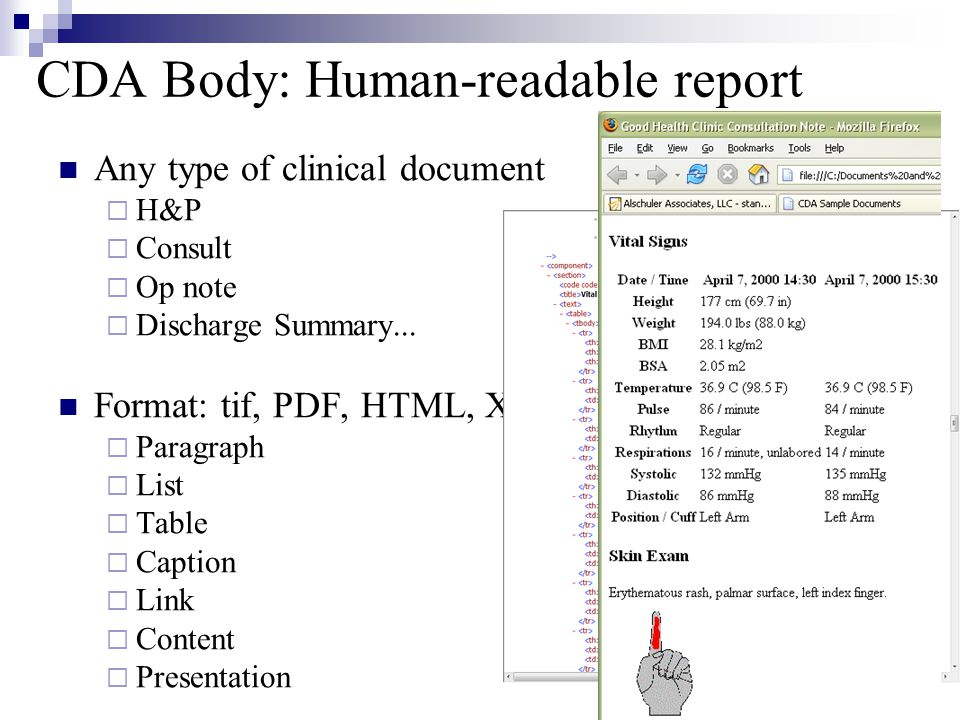CDA Body: Human-readable report