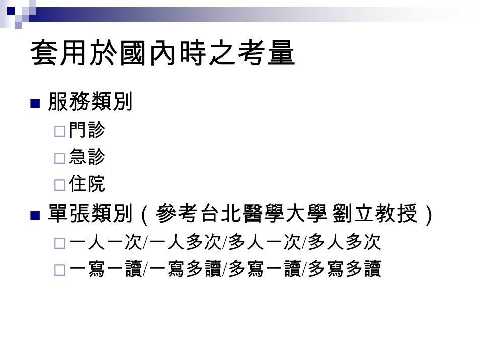 套用於國內時之考量 服務類別 單張類別(參考台北醫學大學 劉立教授) 門診 急診 住院 一人一次/一人多次/多人一次/多人多次