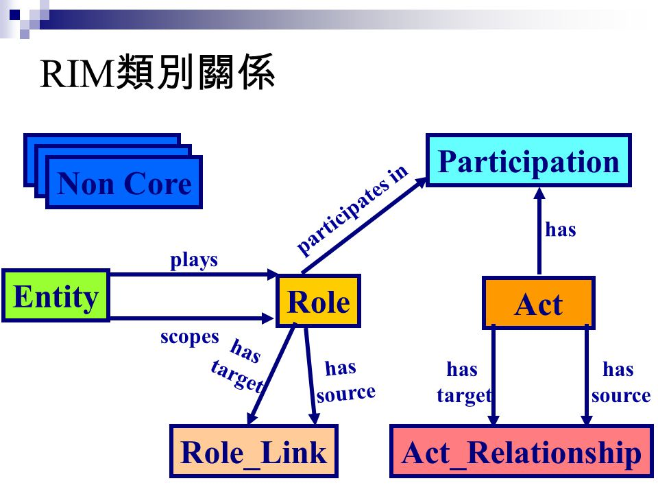 RIM類別關係 Non Core Participation Entity Role Act Role_Link