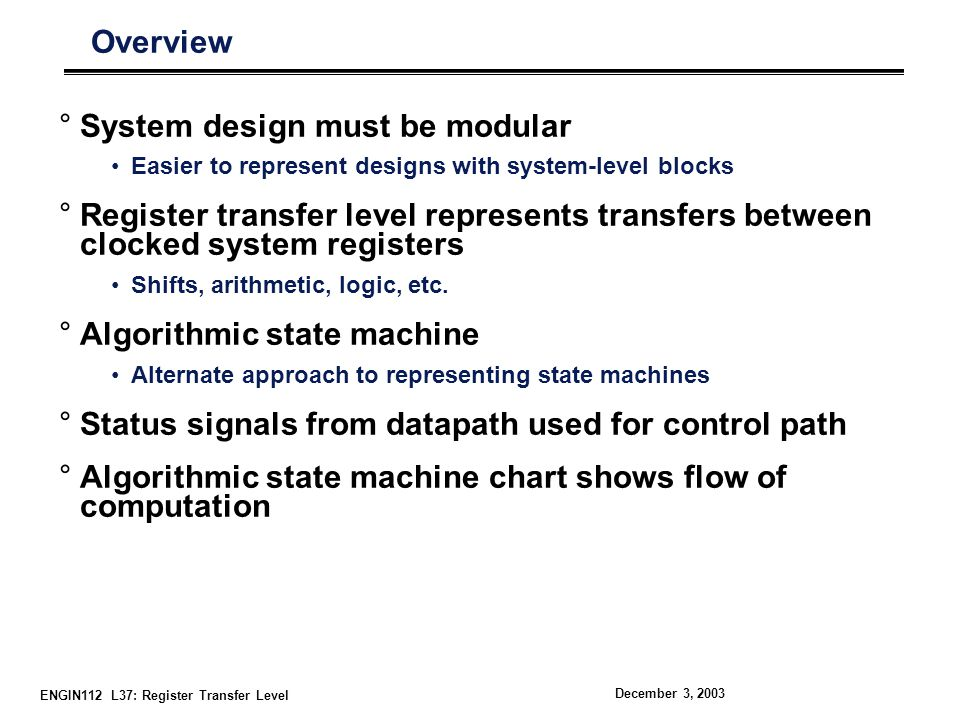 System design must be modular