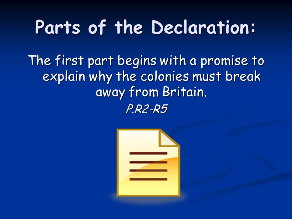 Parts of the Declaration: