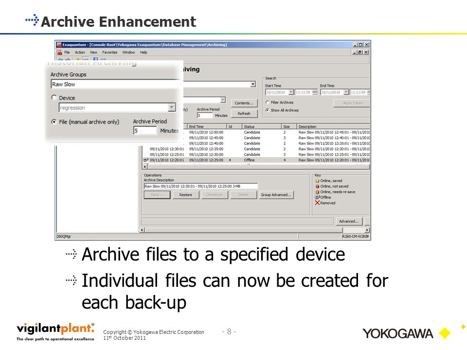 Archive files to a specified device