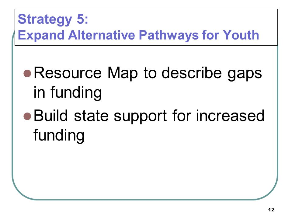 Strategy 5: Expand Alternative Pathways for Youth