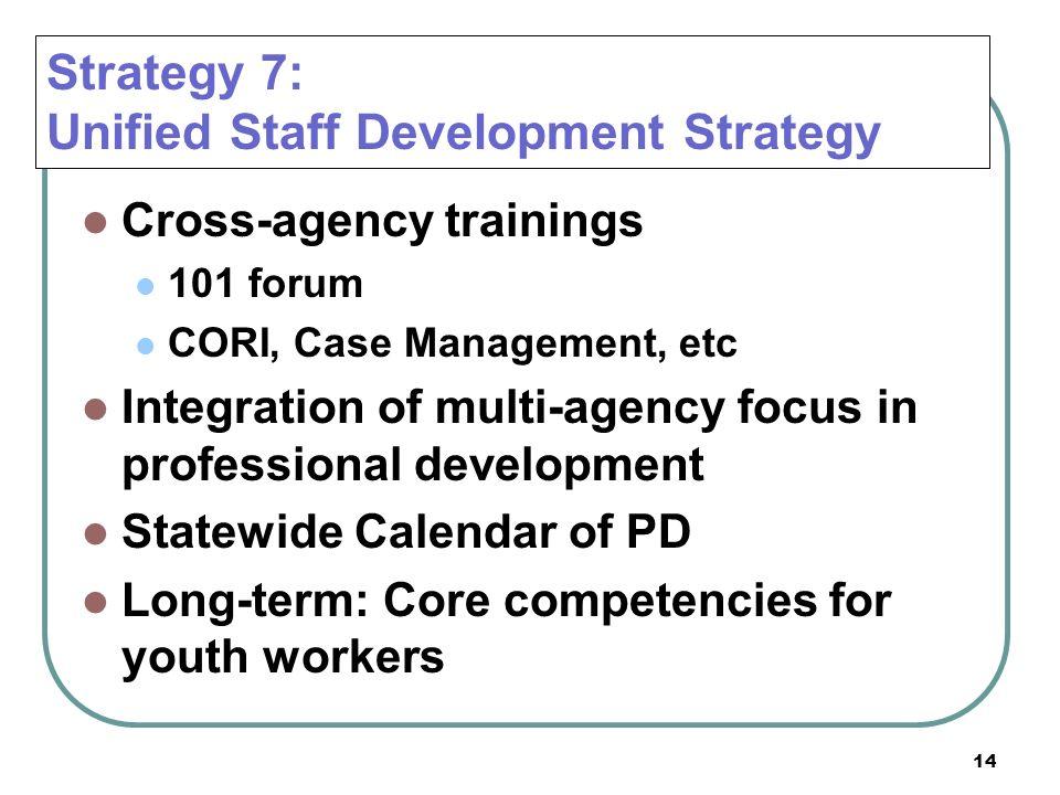 Strategy 7: Unified Staff Development Strategy