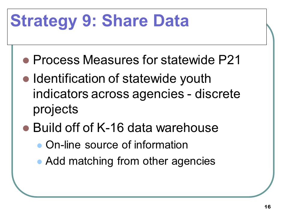 Strategy 9: Share Data Process Measures for statewide P21