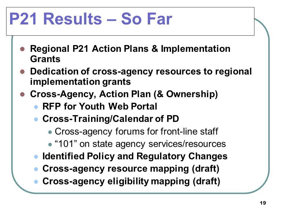 P21 Results – So Far Regional P21 Action Plans & Implementation Grants