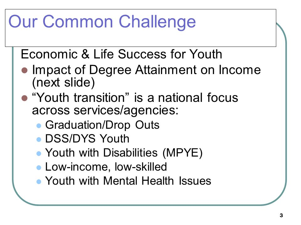 Our Common Challenge Economic & Life Success for Youth