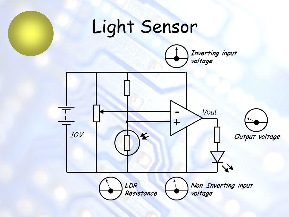 Light Sensor - + Vout 10V Inverting input voltage Output voltage LDR