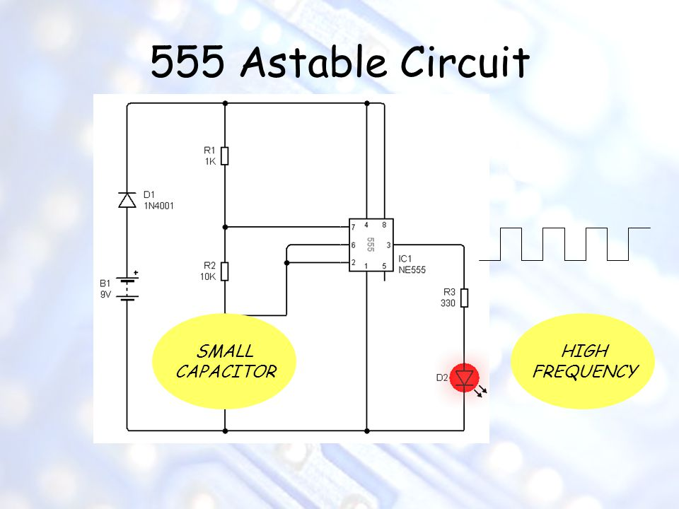 555 Astable Circuit SMALL CAPACITOR HIGH FREQUENCY