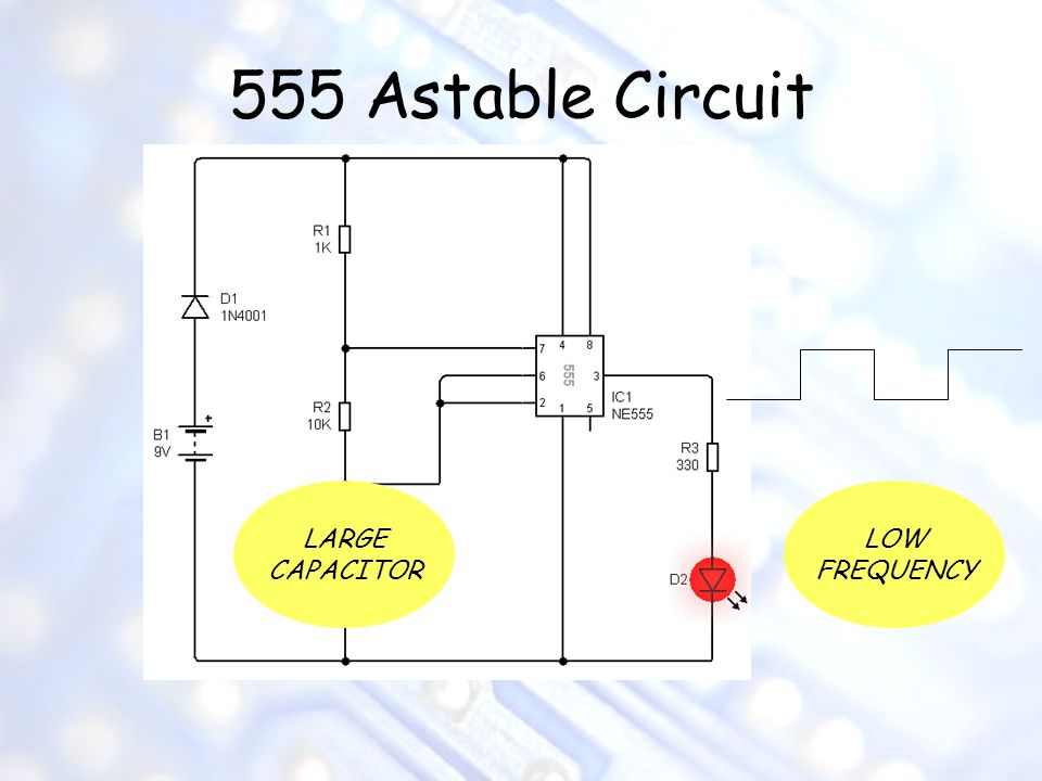 555 Astable Circuit LARGE CAPACITOR LOW FREQUENCY