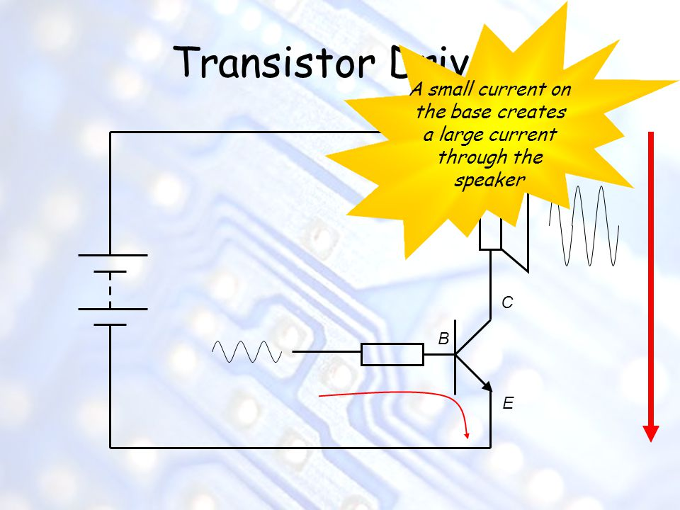 Transistor Driver A small current on the base creates a large current