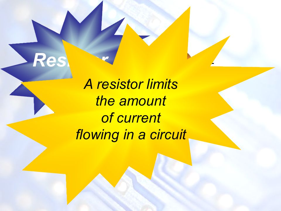 Resistor A resistor limits the amount of current flowing in a circuit