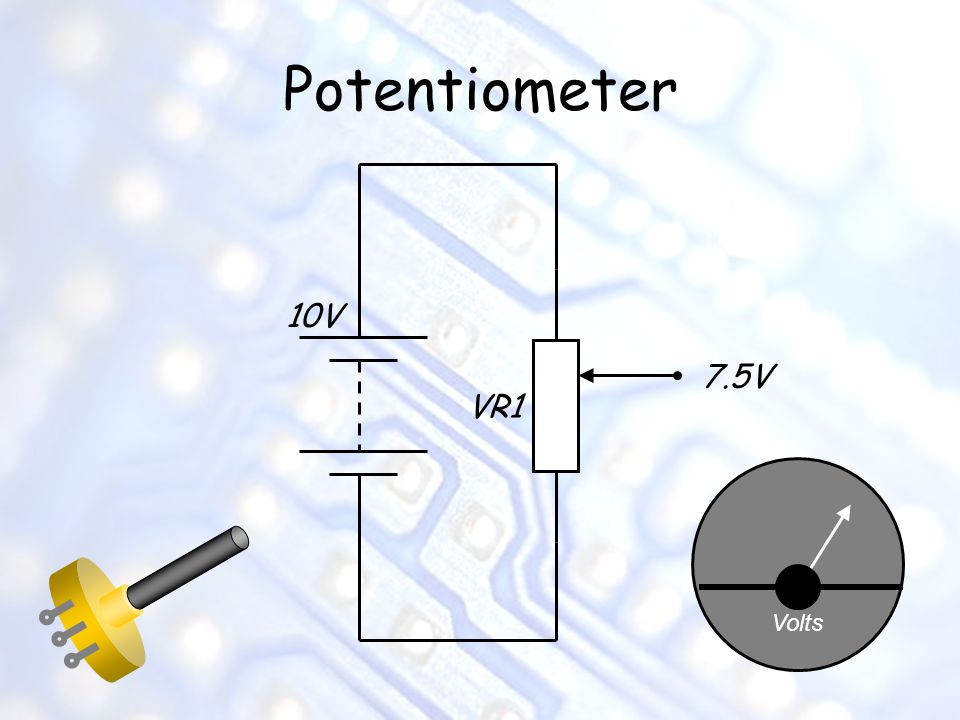 Potentiometer 10V 7.5V VR1 Volts