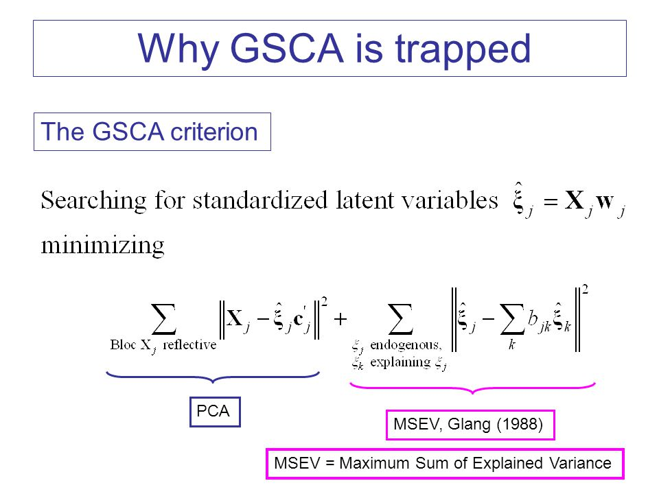 Why GSCA is trapped The GSCA criterion PCA MSEV, Glang (1988)