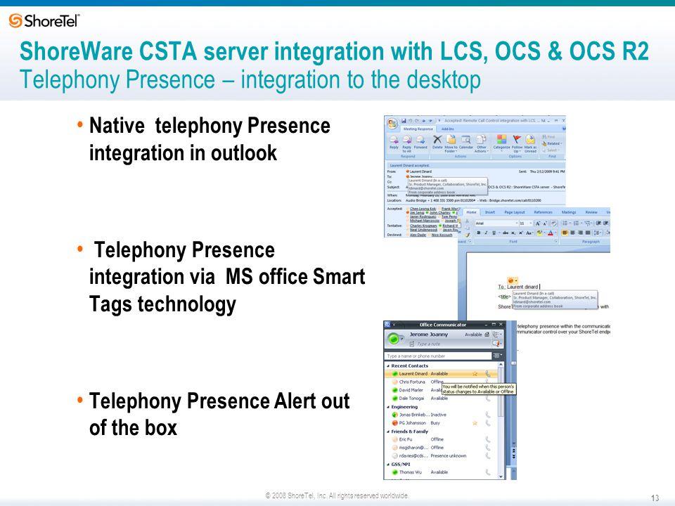 ShoreWare CSTA server integration with LCS, OCS & OCS R2 Telephony Presence – integration to the desktop