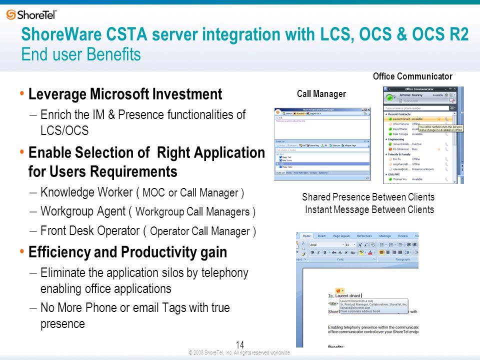 ShoreWare CSTA server integration with LCS, OCS & OCS R2 End user Benefits