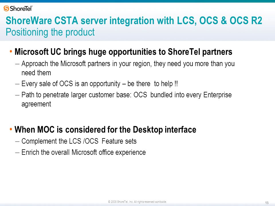 ShoreWare CSTA server integration with LCS, OCS & OCS R2 Positioning the product