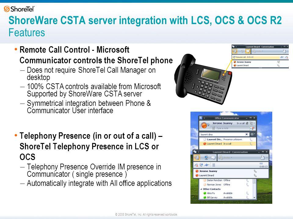 ShoreWare CSTA server integration with LCS, OCS & OCS R2 Features