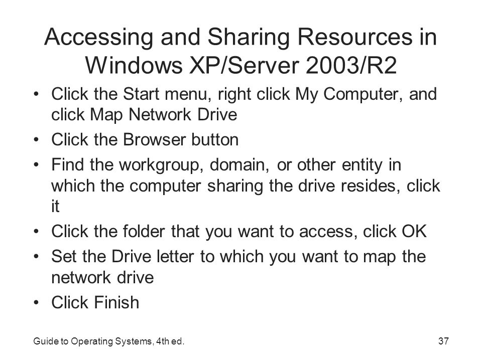 Accessing and Sharing Resources in Windows XP/Server 2003/R2