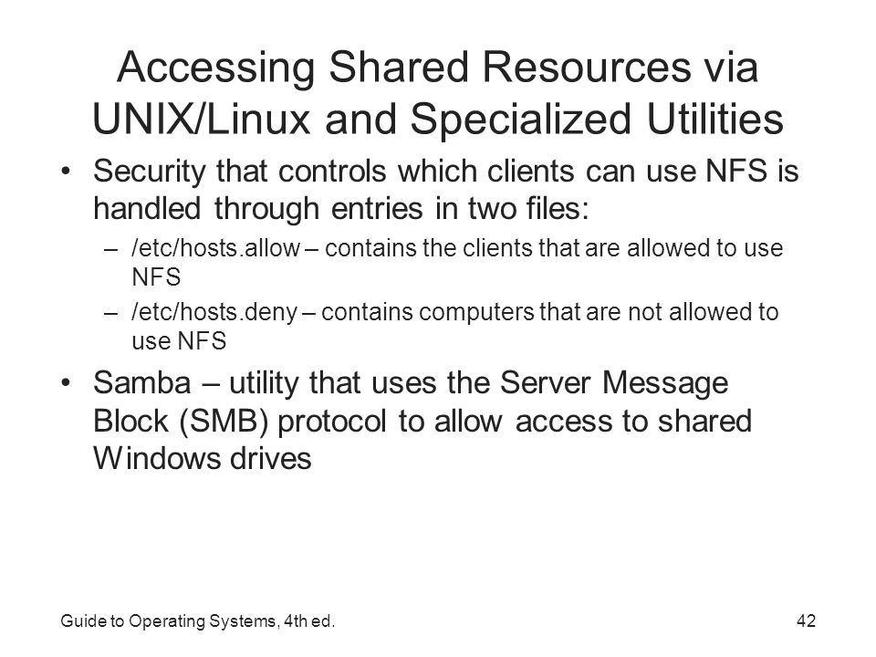 Accessing Shared Resources via UNIX/Linux and Specialized Utilities