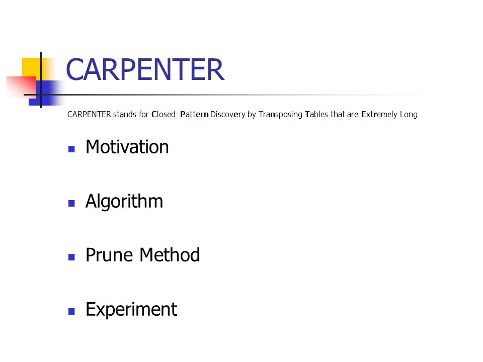 CARPENTER Motivation Algorithm Prune Method Experiment