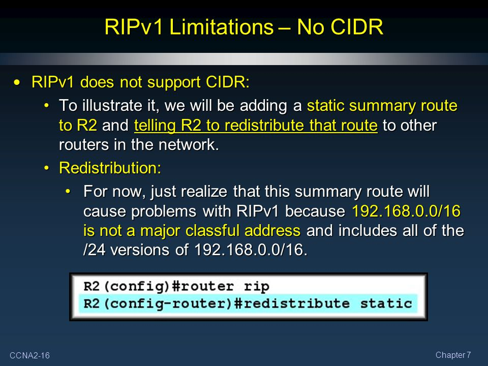 RIPv1 Limitations – No CIDR