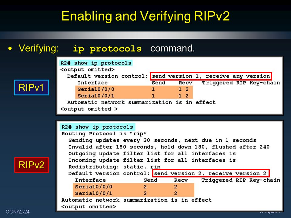 Enabling and Verifying RIPv2