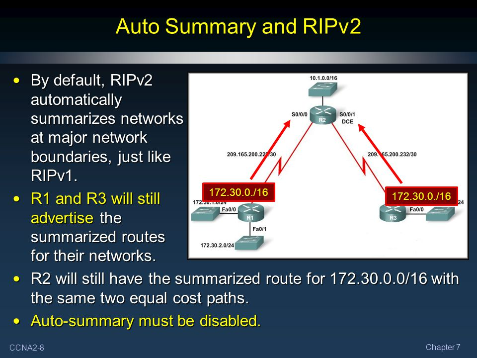 Auto Summary and RIPv2 By default, RIPv2 automatically summarizes networks at major network boundaries, just like RIPv1.