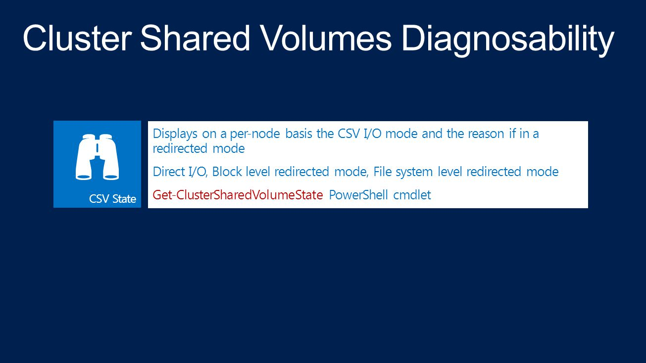 Cluster Shared Volumes Diagnosability