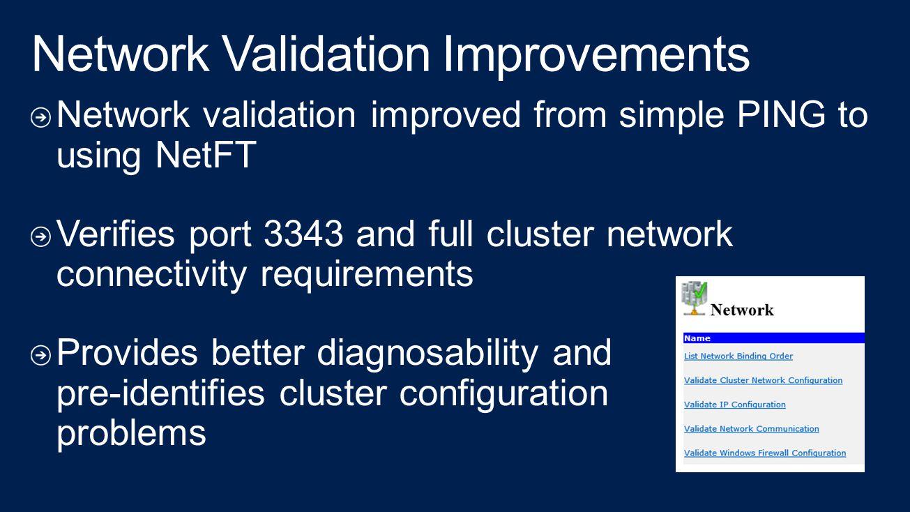 Network Validation Improvements