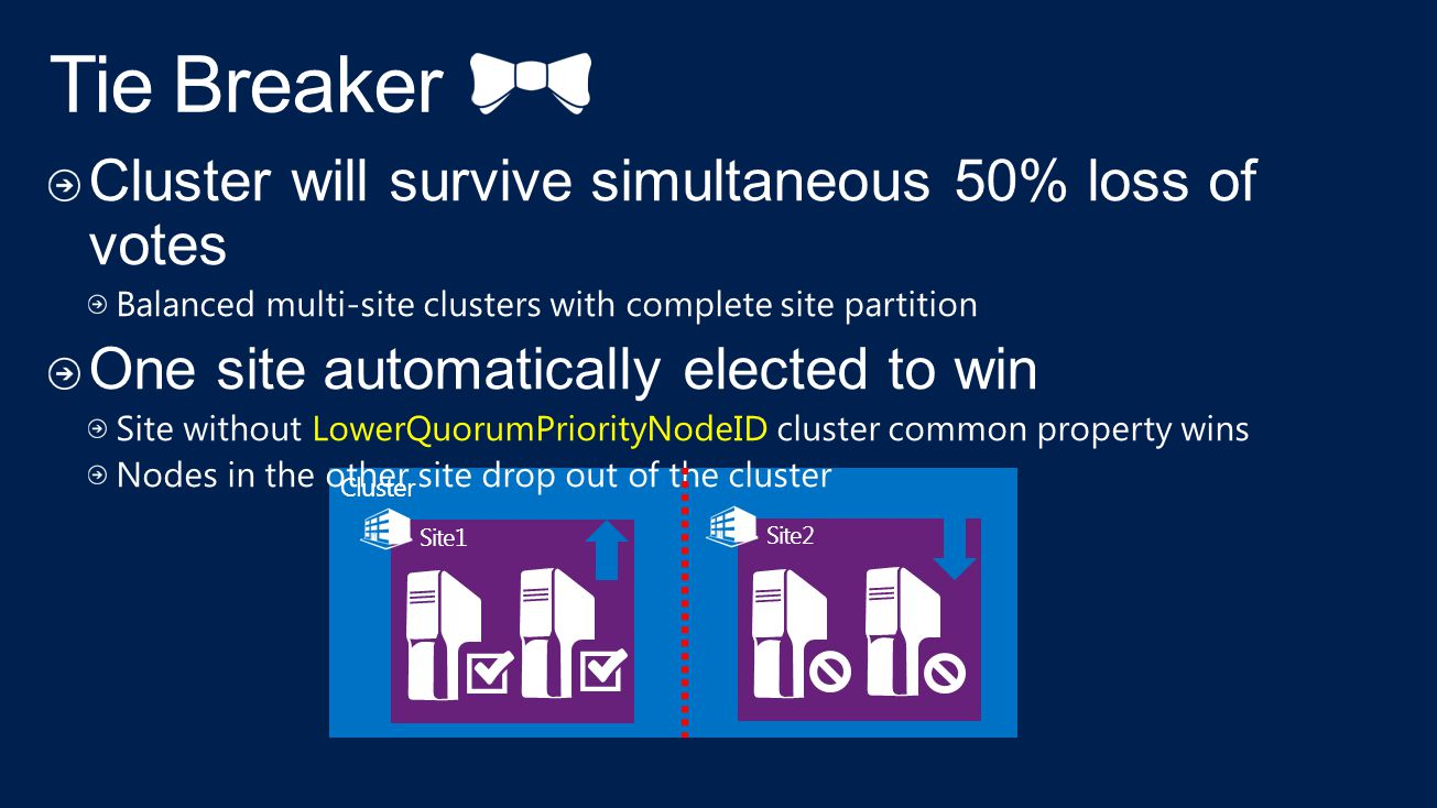 Tie Breaker Cluster will survive simultaneous 50% loss of votes