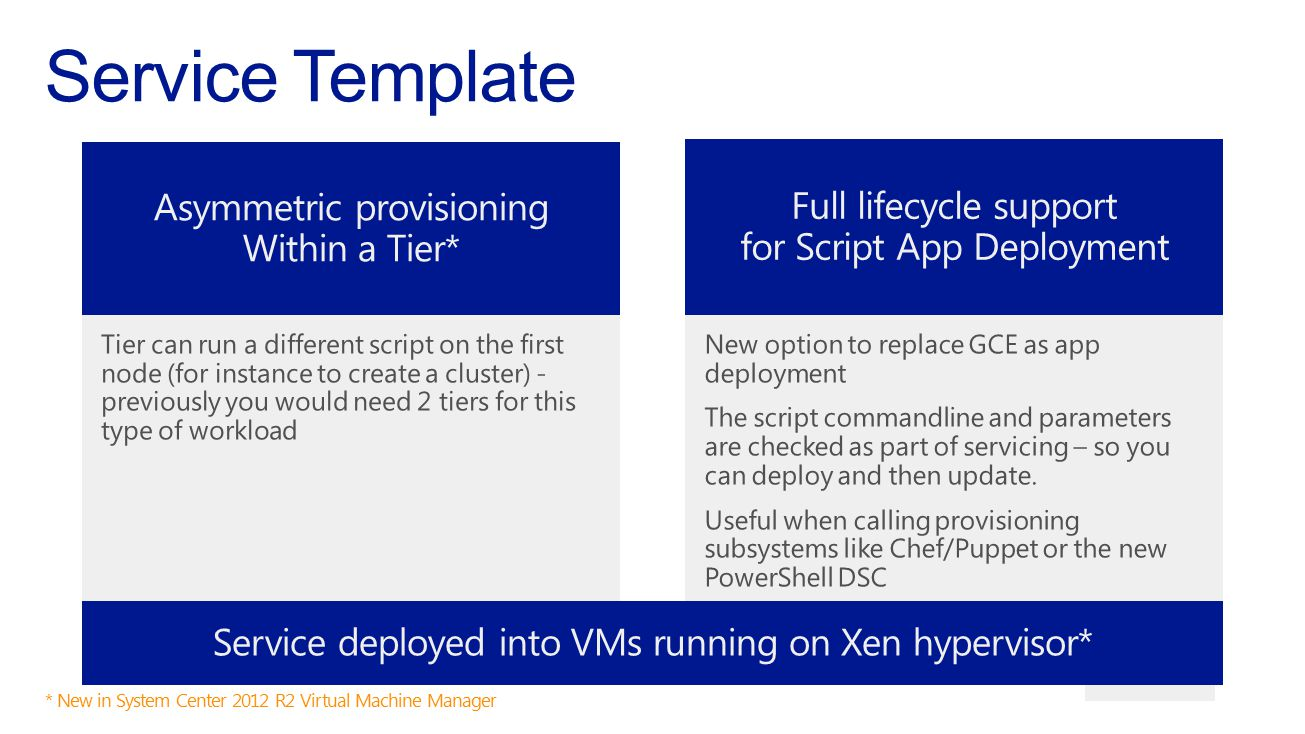 Service Template Asymmetric provisioning Full lifecycle support