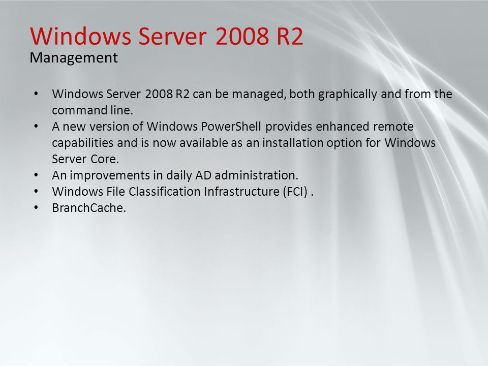 Windows Server 2008 R2 Management