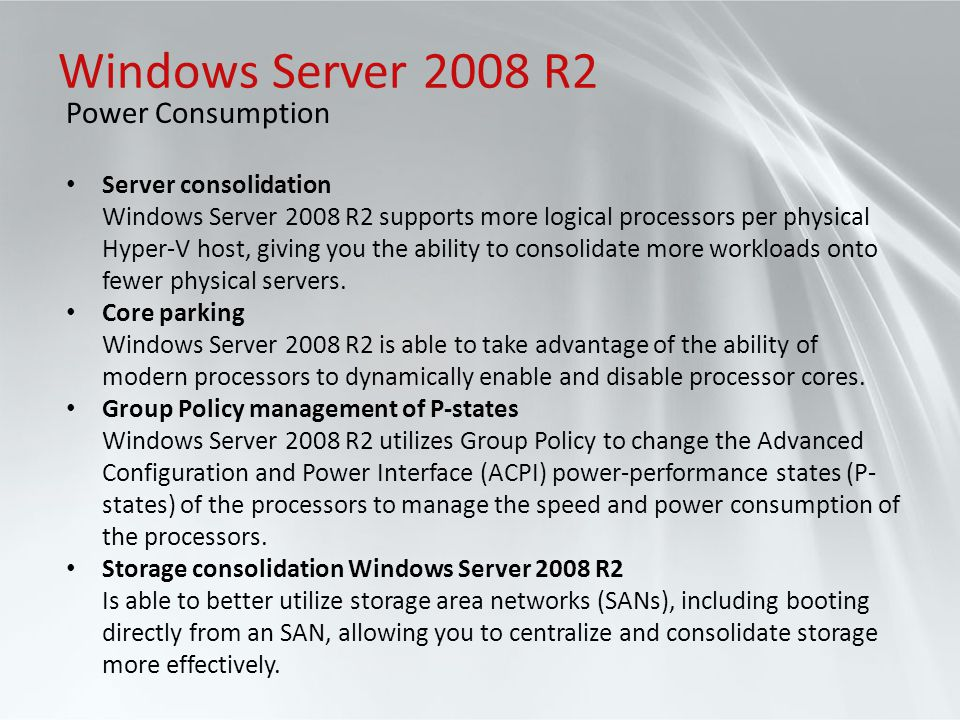Windows Server 2008 R2 Power Consumption