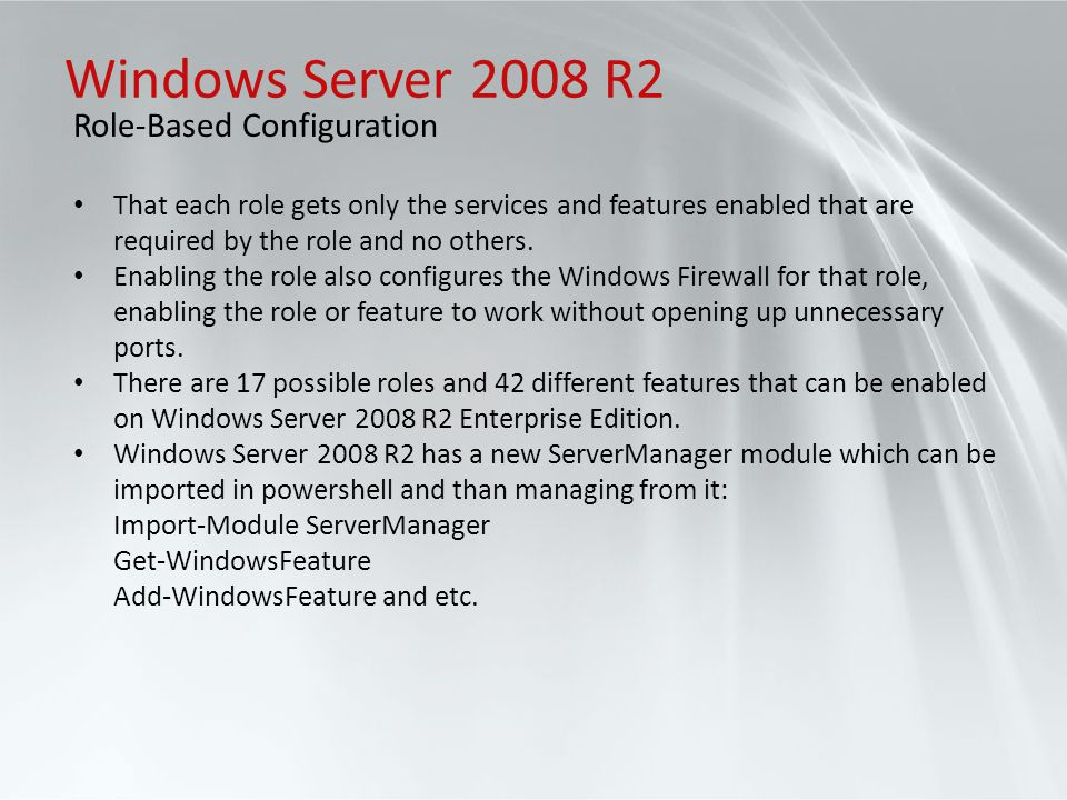 Windows Server 2008 R2 Role-Based Configuration