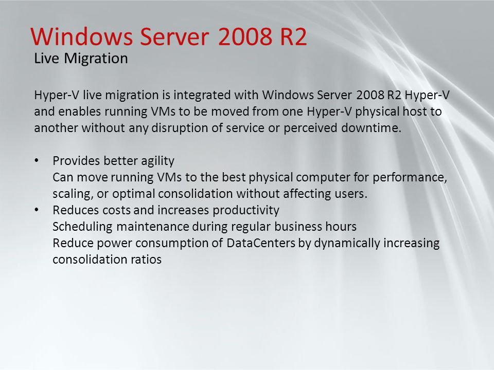Windows Server 2008 R2 Live Migration