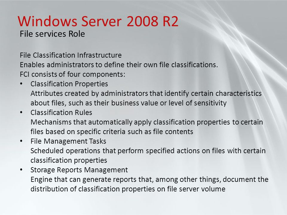 Windows Server 2008 R2 File services Role