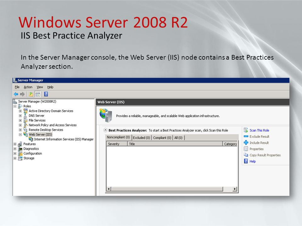 Windows Server 2008 R2 IIS Best Practice Analyzer