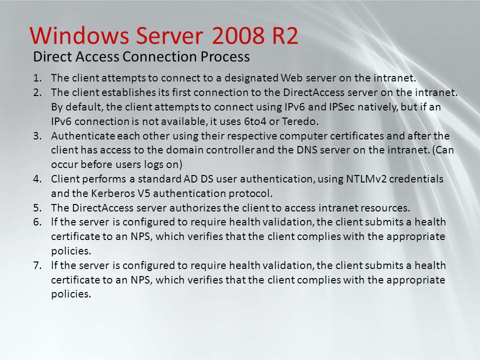 Windows Server 2008 R2 Direct Access Connection Process