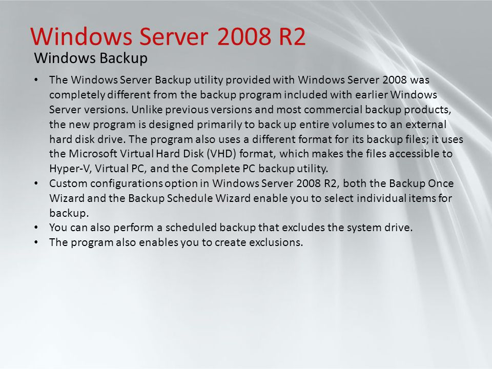 Windows Server 2008 R2 Windows Backup
