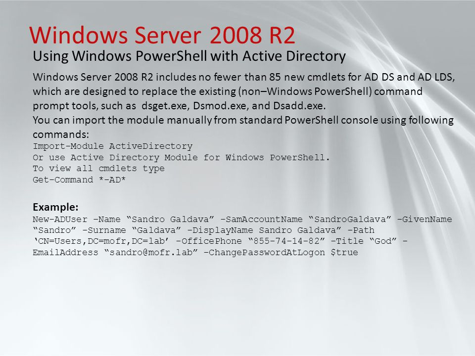 Windows Server 2008 R2 Using Windows PowerShell with Active Directory